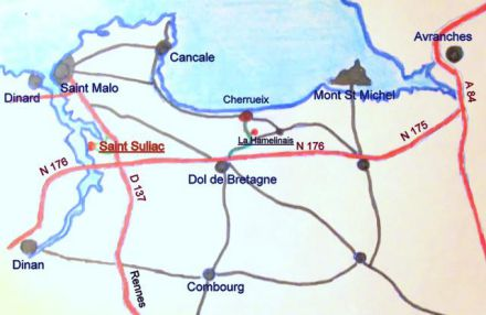 cottage St Malo Saint SuliacKer Mor to come to Saint Suliac and to arrive at holiday home map.jpg